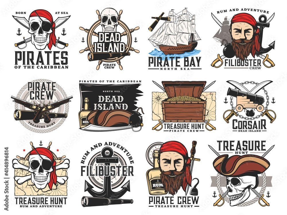 Fototapeta Pirates island, treasure hunt adventure and filibuster crew emblems. Pirate bearded face and skull, chest with gold, buccaneer sabers, pistols and cannon, caravel steering wheel, treasure map vector