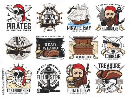 Obraz na plátně Pirates island, treasure hunt adventure and filibuster crew emblems