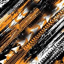 Tire Tracks, Bike Wheels Or Motorcycle Trail Prints On Road, Vector Truck Halftone Background. Motocross Tire Tracks On Mud Or Grunge Dirt, Rally Race Speed Scratches, Tyre Dirty Rubber Tread Traction