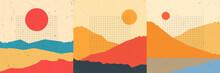 Vector Vintage Illustration Landscape. Mountain Peaks, Desert Hills. Line Grid Pattern. Sunshine Scene Background. Retro Polygonal Style. Design For Social Media Banner, Blog Post, Backdrop For Text