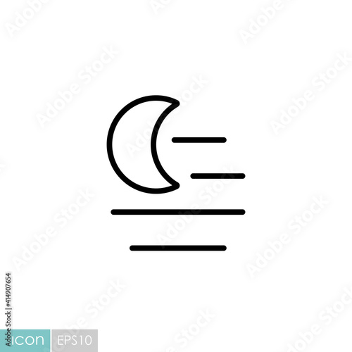 Fog night vector icon. Weather sign Fotobehang