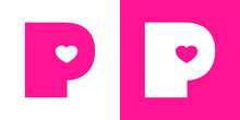 Logotipo Con Letra Inicial P Con Corazón En Fondo Rosa Y Fondo Blanco