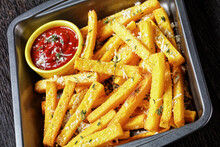 Hot Crispy Baked Polenta Fries, Top View
