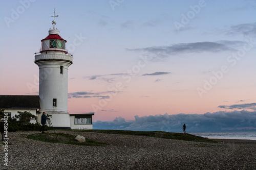 Fototapeta Sletterhage lighthouse just before sunset
