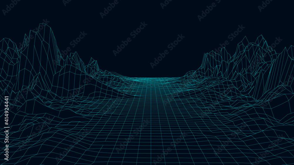 Fototapeta Technology wireframe landscape. Futuristic polygonal terrain background. Digital vector illustration. Retro design.