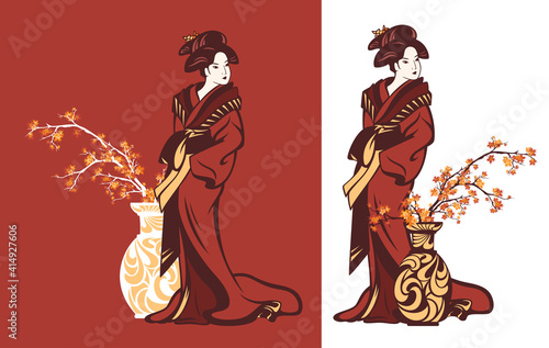 japanese geisha wearing traditional kimono clothes standing by vase with autumn Fototapet