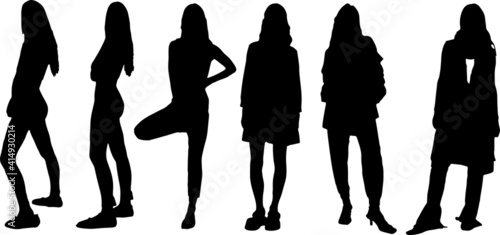 Obraz Vector silhouette of ladies, front view perfect to include in your architecture projects, renders, sketches or plans. - fototapety do salonu
