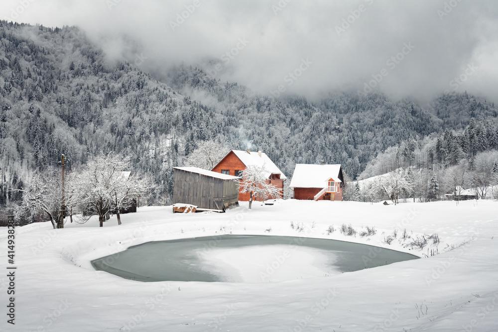 Fototapeta Fantastic landscape with snowy mountains, trees and houses. Carpathian mountains, Ukraine, Europe