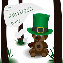 Vector Bear For St. Patrick Day
