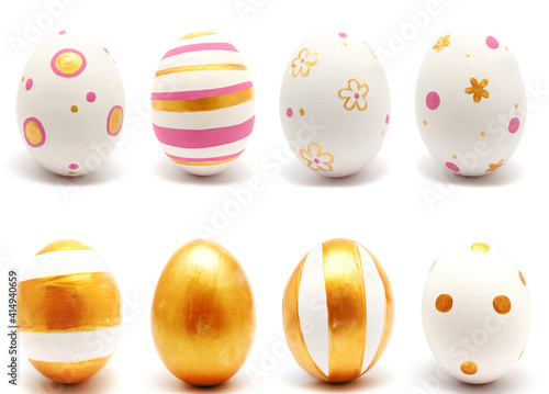 Obraz Collection of photos colorful perfect handmade painted easter eggs isolated - fototapety do salonu