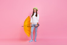 Full Length Body Size View Of Pretty Thin Cheerful Girl Holding In Hand Parasol Posing Isolated Over Pink Pastel Color Background