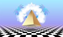 Vaporwave Poster With Cloud Or Vapor Arch Above The Golden Pyramid, Surrounded By Tropical Palm Trees. Surreal Vaporwave Abstraction In 90s Style Over The Checkered Floor