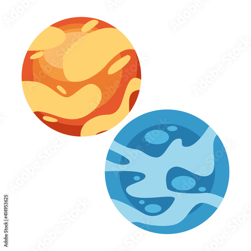 space planets yellow and blue colors icons Wallpaper Mural