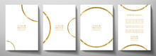Modern Cover Design Set With Gold Round Ring (golden Circle Pattern) On White Background. Luxury Creative Premium Backdrop. Formal Simple Vector Template For Business Brochure, Certificate, Invite