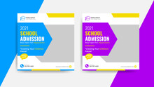 School University Education Social Media Post Flyer And Web Banner Template, Back To School Promotion Cover Layout