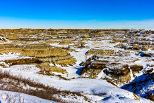 Snow Starts To Melt In Horseshoe Canyon, Drumheller, Alberta, Canada