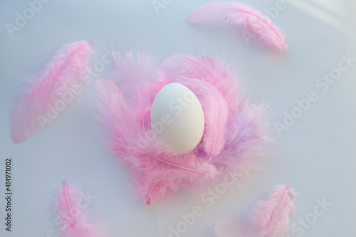 Obraz na plátně Happy Easter is a simple egg white and pink feathers
