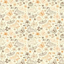 Nature Tropics. Birds Seamless Pattern. Hand Drawn Doodle Toucan, Butterflies, Flowers. Vector Floral Background