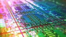 Iridescent Silicon Microchip Computer Wafer. 7nm, 5nm And 3nm Manufacturing Process. Semiconductor Manufacturing Of CPU, GPU, CMOS Chip Design.  Integrated Circuit Die Shot. 3D Render.