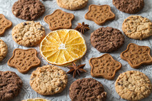 Chocolate, Ginger, Oatmeal Cookies, Dried Orange Slices, Star Anise. Aromatic And Delicious Sweet Pastries And Spices