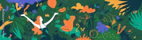 Motivo floreale con una ragazza nel giardino fiorito Fototapet