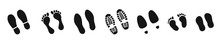 Different Human Footprints Icon. Vector Illustration