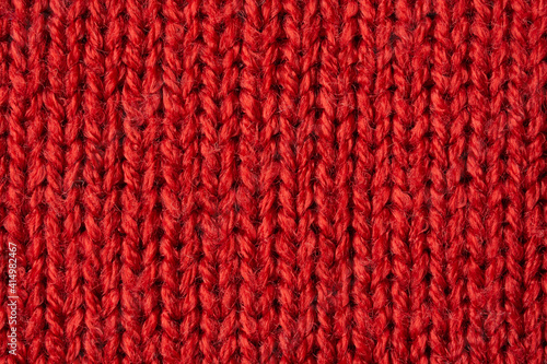 Fototapeta Red knitted wool texture background