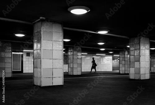 Fotografie, Tablou person walking in underground passage