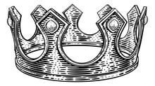 A Royal Kings Crown In A Vintage Retro Woodcut Style Illustration