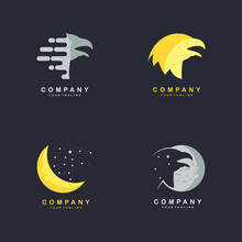 Creative Eagle Moon Design Concepts Vector Illustration