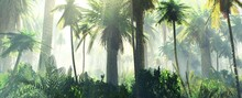 Palm Trees In The Fog, Jungle In The Morning, Fog In The Jungle, Rainforest In The Haze, 3D Rendering
