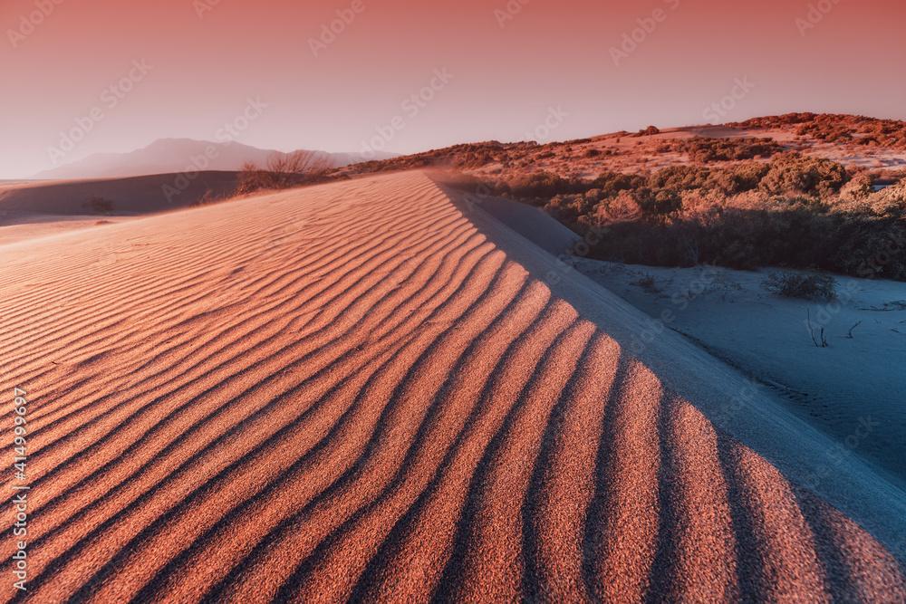 Fototapeta Atmospheric and mystical moody light of the sunset sunbeam illuminated the slope of a sand dune somewhere in the depths of the Sahara Desert