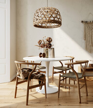 Modern Living Room Interior In Boho Style. 3d Rendering