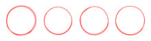 Set Of Round Red Hand Drawn Doodle Frames Isolated On White Background