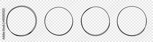 Fototapeta Set of round hand drawn doodle frames isolated on white background obraz