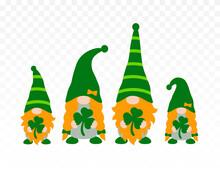 St Patrick's Day Gnomes Family Isolated On Transparent Background. Irish Gnomes Holding Shamrocks Or Clovers. Vector Illustration