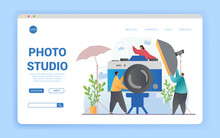 Photo Studio Abstract Concept. Flat Cartoon Vector Illustration. Website, Webpage, Landing Page Template