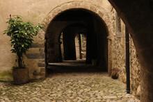 Porticos Along Via Mercatorum, Cornello Dei Tasso, Ancient Medieval Village, Camerata Cornello, Lombardy, Italy