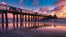 Sunset At The Old Pier Naples, Florida, United States Of America.. Travel Concept.