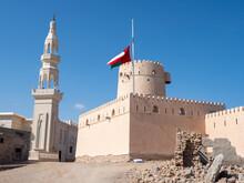 The Omani Flag At Half Mast To Signify The Death Of Sultan Qaboos At Ras Al Had Castle, Sultanate Of Oman