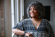 Portrait Of Black Senior Citizen Woman With Grey Hair