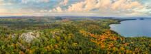 Beautiful Autumn Panorama Of Lake Superior Sugarloaf Mountain Overlook  Near  Marquette Michigan - Upper Peninsula