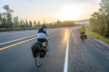 Cyclists On Road, Ontario, Canada
