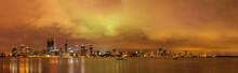 Australia, Perth, Swan River, City And River At Sunset