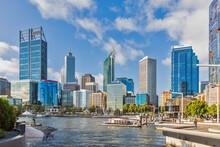 Australia, Oceania, Western Australia, Swan River, Perth, River And Skyscrapers