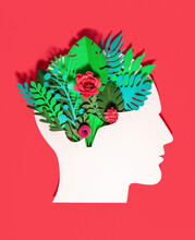 Plants And Flowers With Head Made Of Paper On Red Background