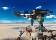 Close Up In Combat Drone On The Desert After Rain