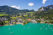 Aerial Of Saint Gilgen (Sankt Gilgen) On Wolfgangsee Lake, Austria