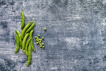 Peas Bunch. Healthy Vegetarian Food Concept Background, Fresh Green Food Selection For Detox Diet. View From Above