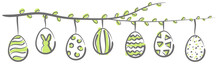 Easter Eggs Hanging On A Blooming Branch Vector Illustration
